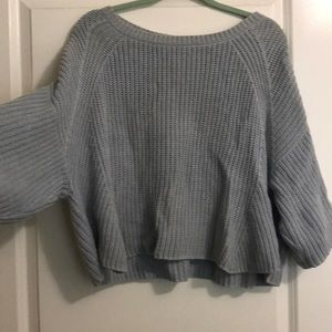 Free People Crop Light Blue Knit crop Sweater